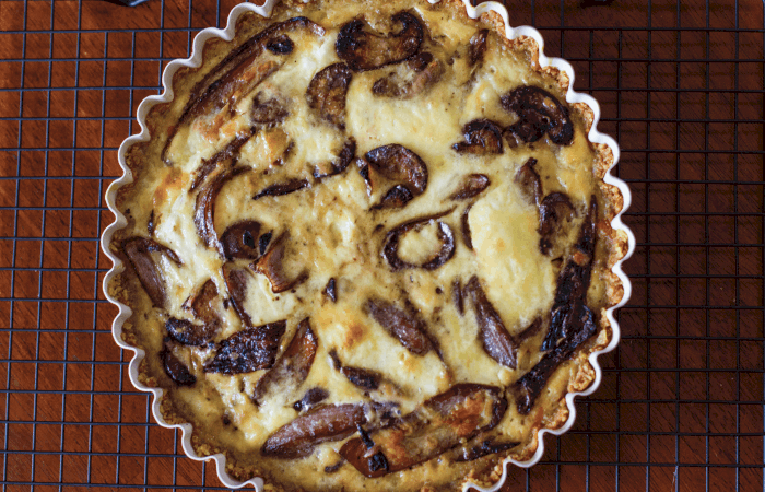 Caramelized Onion and Mushroom Quiche with Potato Chip Crust