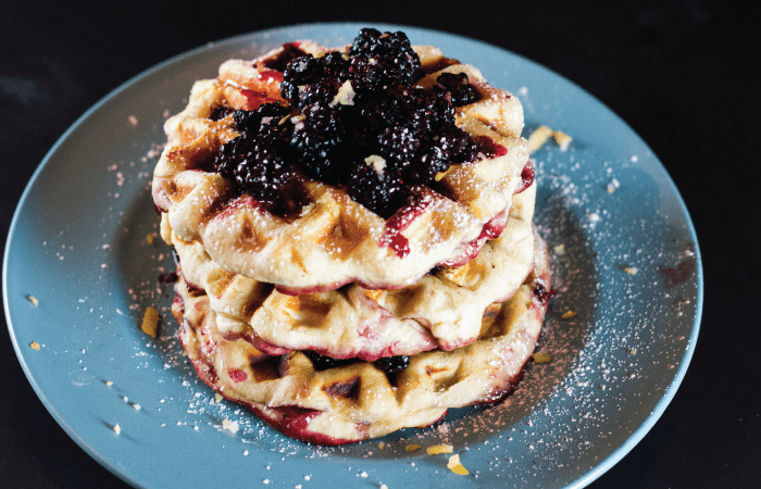 No Batter Blackberry Stuffed Waffles