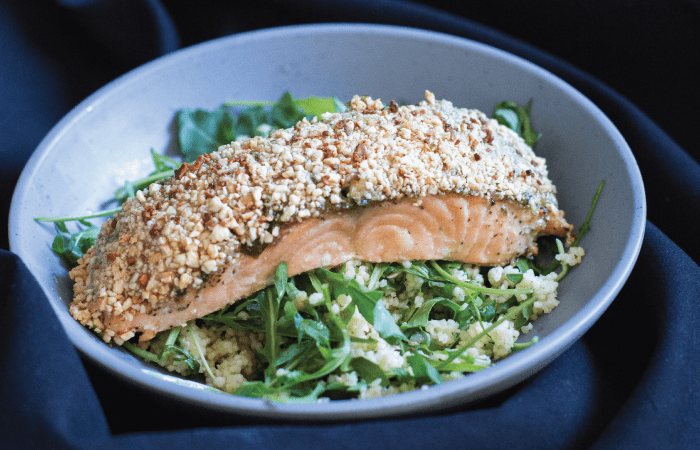 Cashew Crusted Salmon with Pesto and Honey [VIDEO]