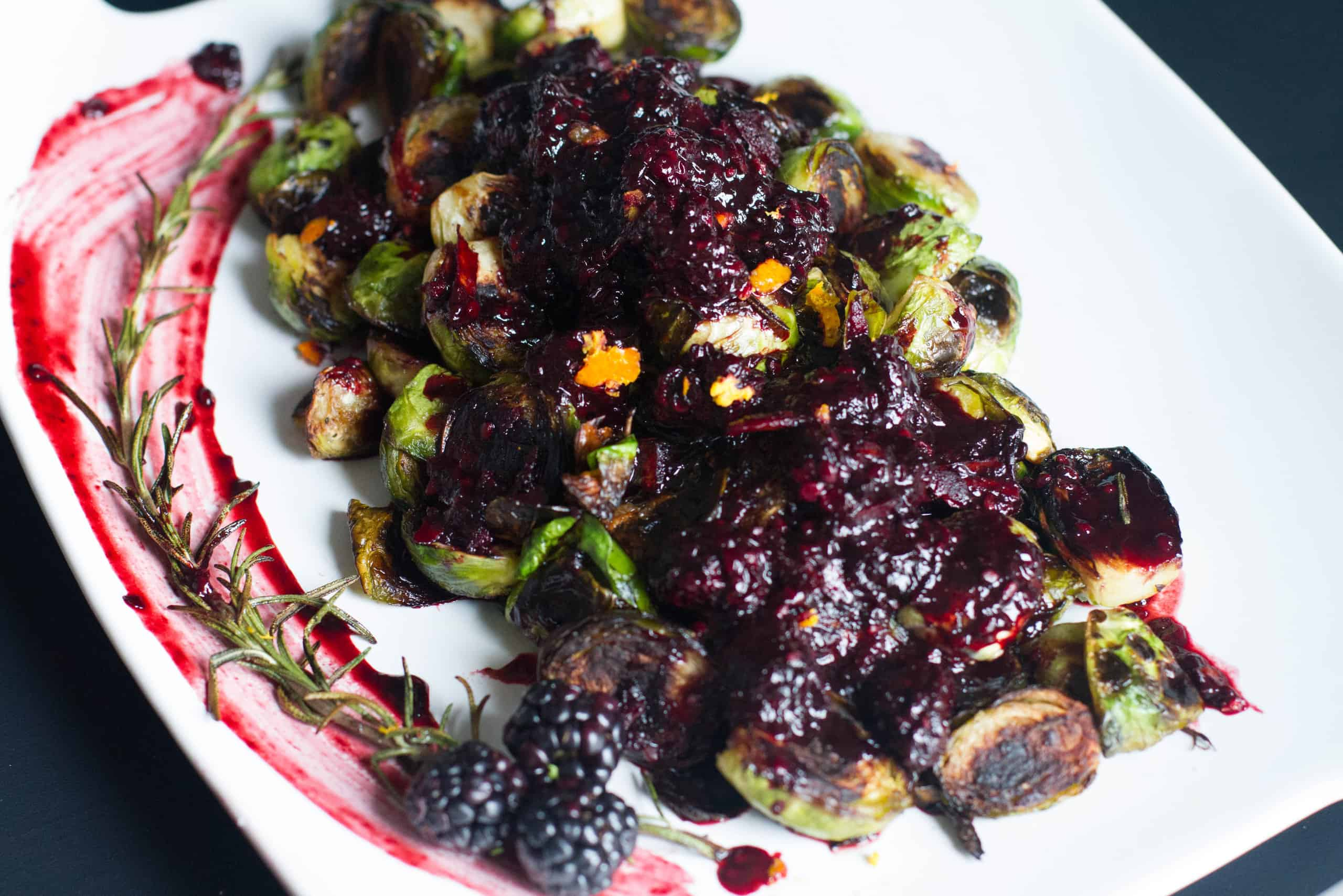 Crispy Brussel Sprouts with Blackberry Reduction