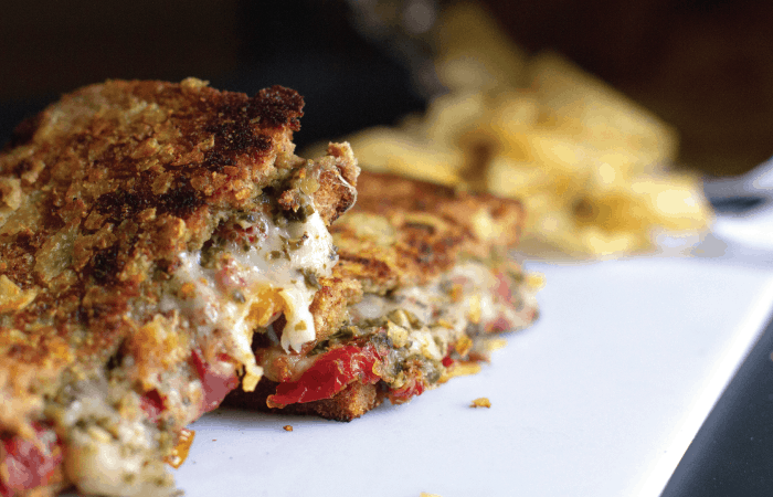 Potato Chip Crusted Grilled Cheese with Pesto and Sun-dried Tomatoes