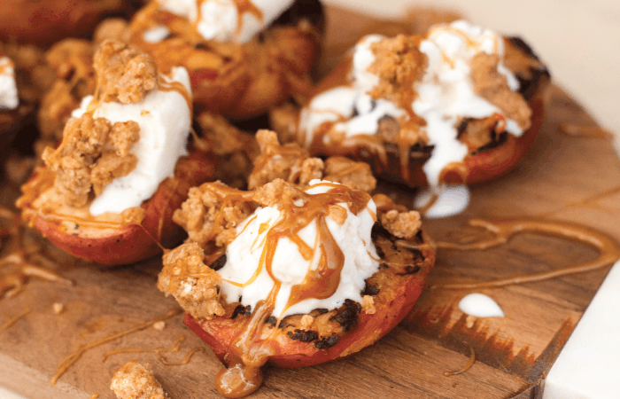 Grilled Peaches with Salted Caramel and Toffee Crumble