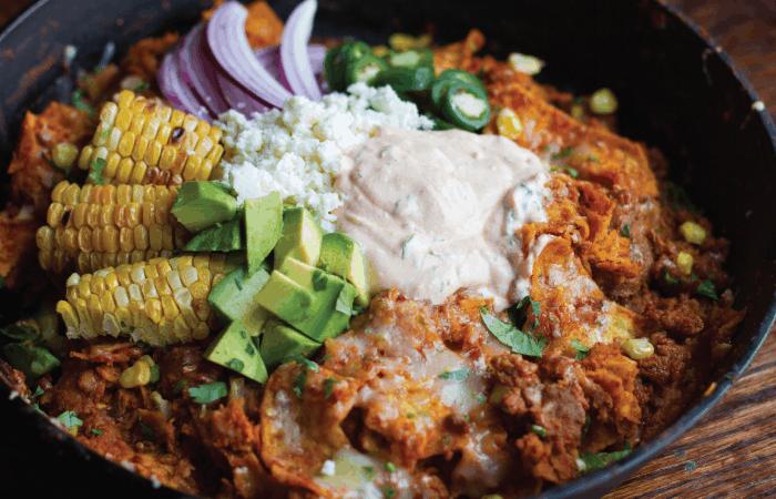 Roasted Corn and Chorizo Chilaquiles