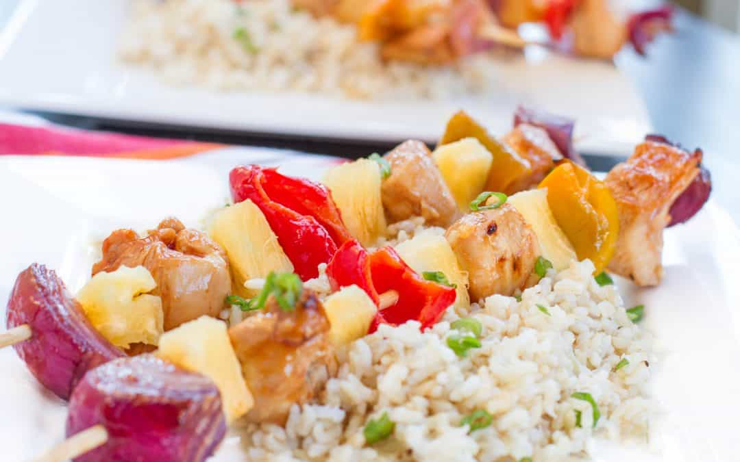 30 Minute Spicy Pineapple Teriyaki Chicken Kabobs