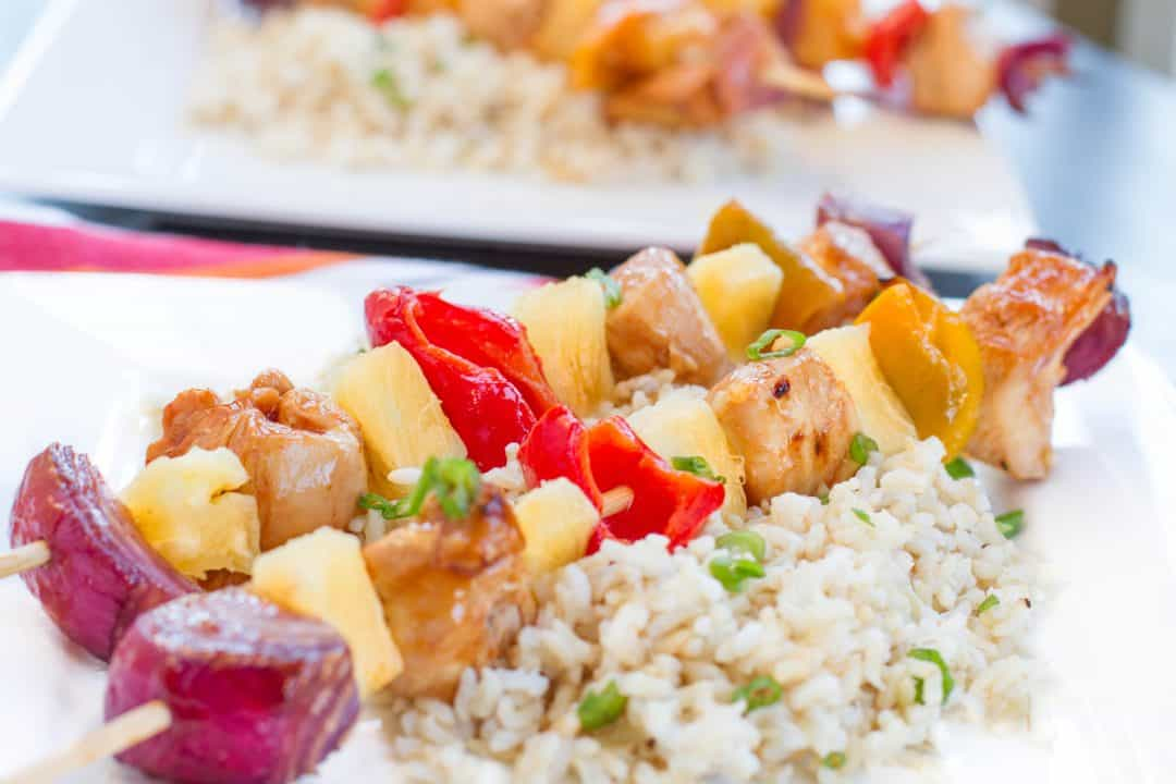 30 Minute Spicy Pineapple Teriyaki Chicken Kabob